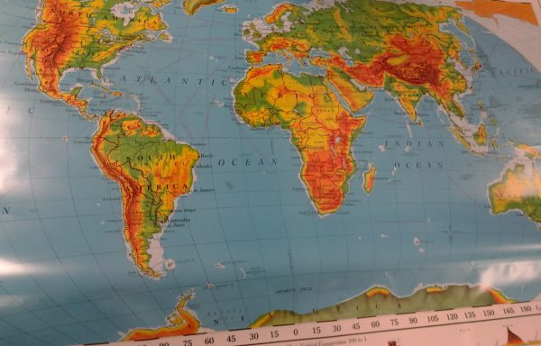 Classroom Map of the World.  Topographical and Political.