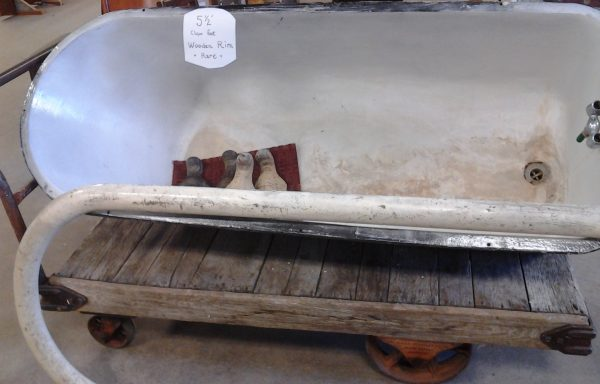 Very Rare 5 1/2′ Claw Foot Tub With Wooden Rim.  Price Reduced!!!  $499.99!!!