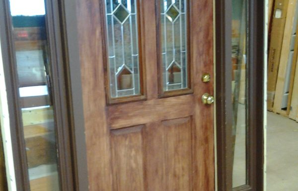 Prehung Exterior Door w/ Leaded Glass, 2 sidelites and Transom.