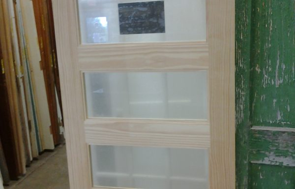 33 1/8″ x 84″  5 Lite Frosted Glass Pine Slab